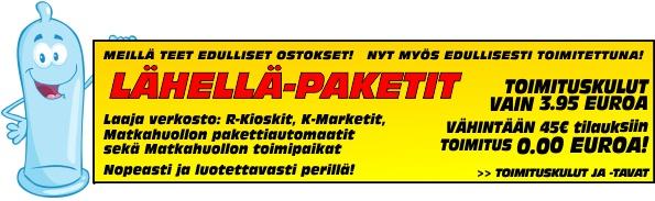 Lähellä-paketit vain 3.95 ja vähintään 45 euron tilaukset 0.00 euroa